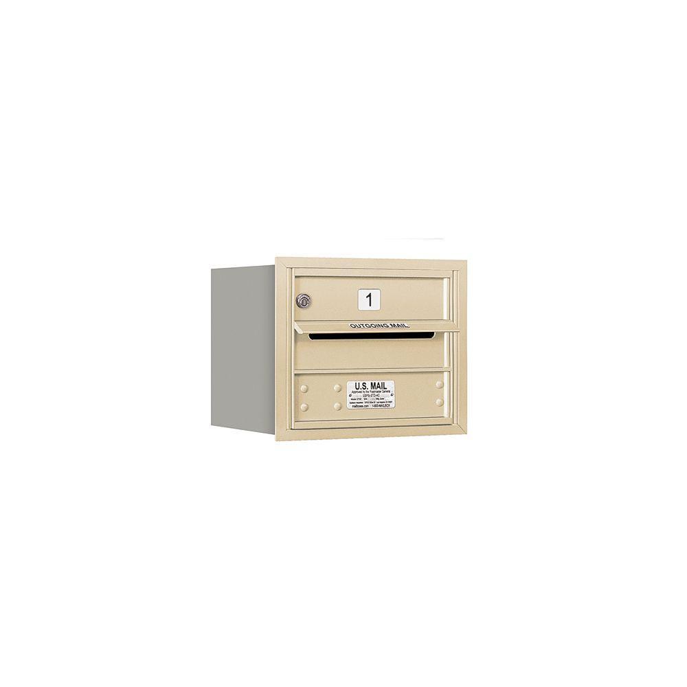 Salsbury Industries 3700 Series 13 in. 3 Door High Unit Sandstone Private Rear Loading 4C Horizontal Mailbox with 1 MB1 Door