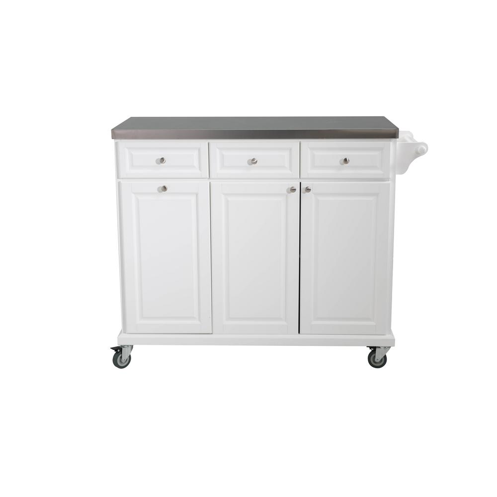Sunjoy Buckhead White Body With Stainless Steel Top Kitchen Cart With 1  Towel Bar 3 Drawers