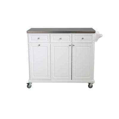 Buckhead White Body With Stainless Steel Top Kitchen Cart With ...