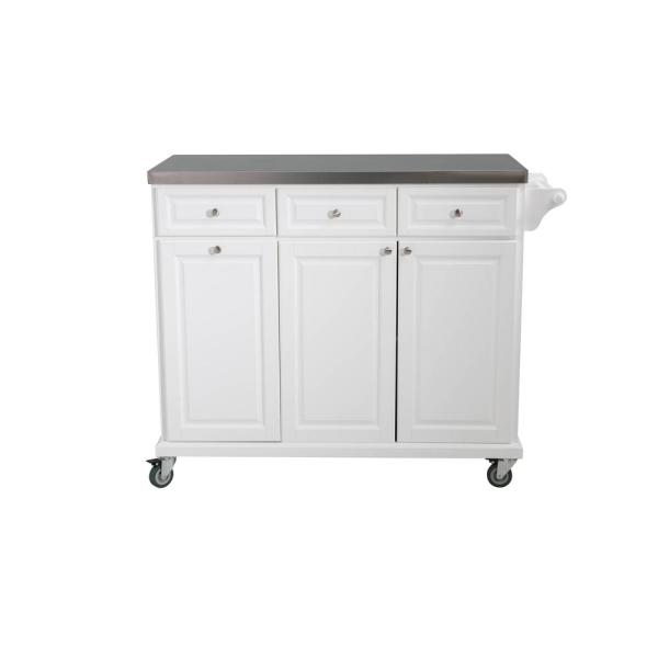 Sunjoy Buckleigh Movable Kitchen Island Cart with Stainless Steel ...