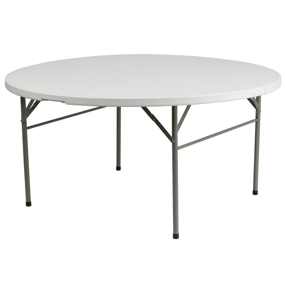60.5 in. Granite White Plastic Tabletop Metal Frame Folding Table