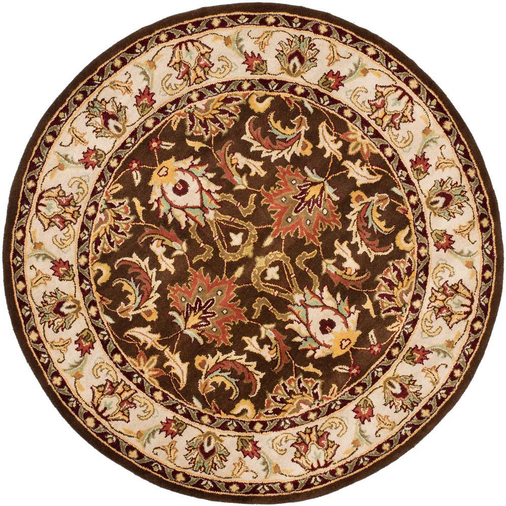 Safavieh Heritage Brown Beige 6 Ft X 6 Ft Round Area Rug
