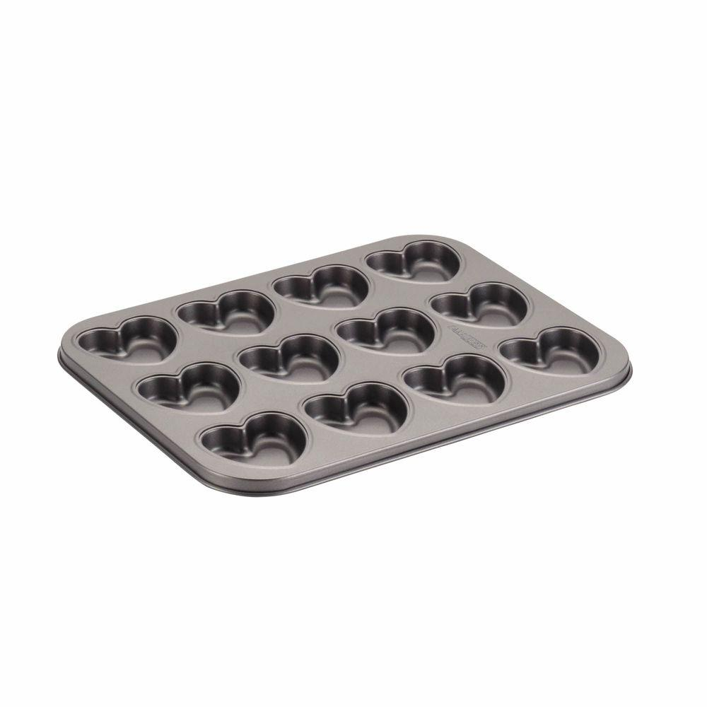 Cake Boss Novelty Nonstick Bakeware 12-Cup Heart Molded Cookie Pan in Gray