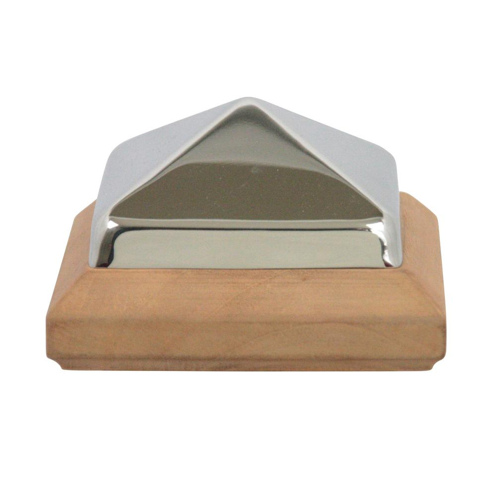Protectyte Miterless 4 in. x 4 in. Untreated Wood Slip Over Fence Post Cap with Stainless Steel Pyramid