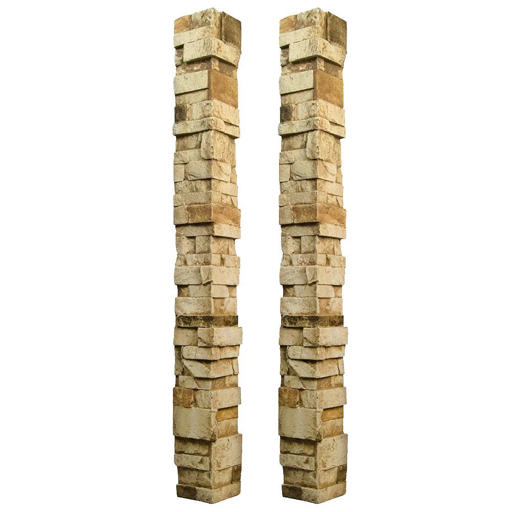 Stacked Stone 3.25 in. x 48 in. x 3.25 in. Desert Tan Faux Stone Keyless Corner (2-Pack)