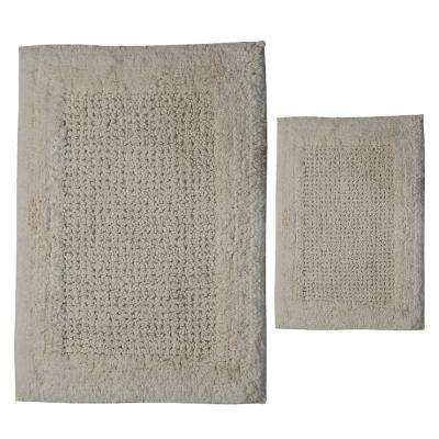 Ivory 20 in. x 30 in. and 21 in. x 34 in. Naples Bath Rug Set (2-Piece)