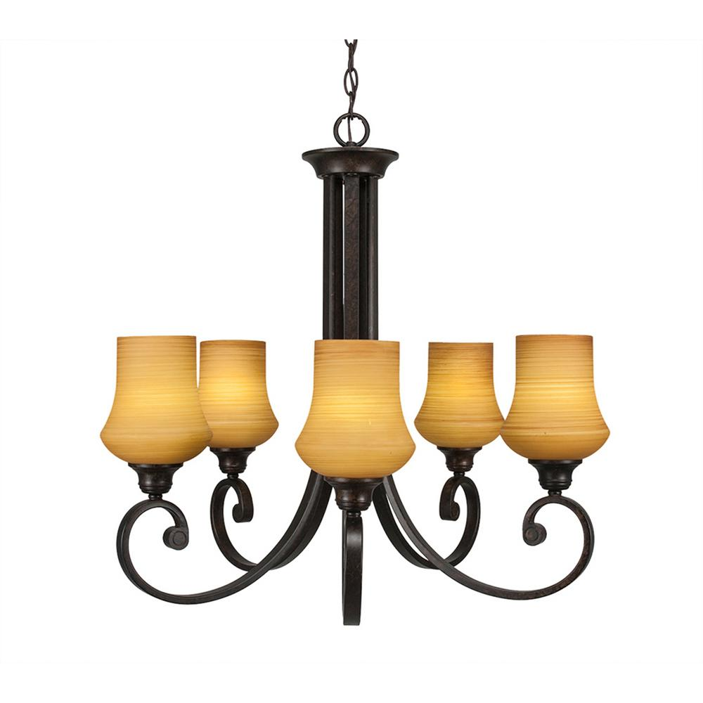 5-Light Bronze Chandelier with Zilo White Linen Glass Shade
