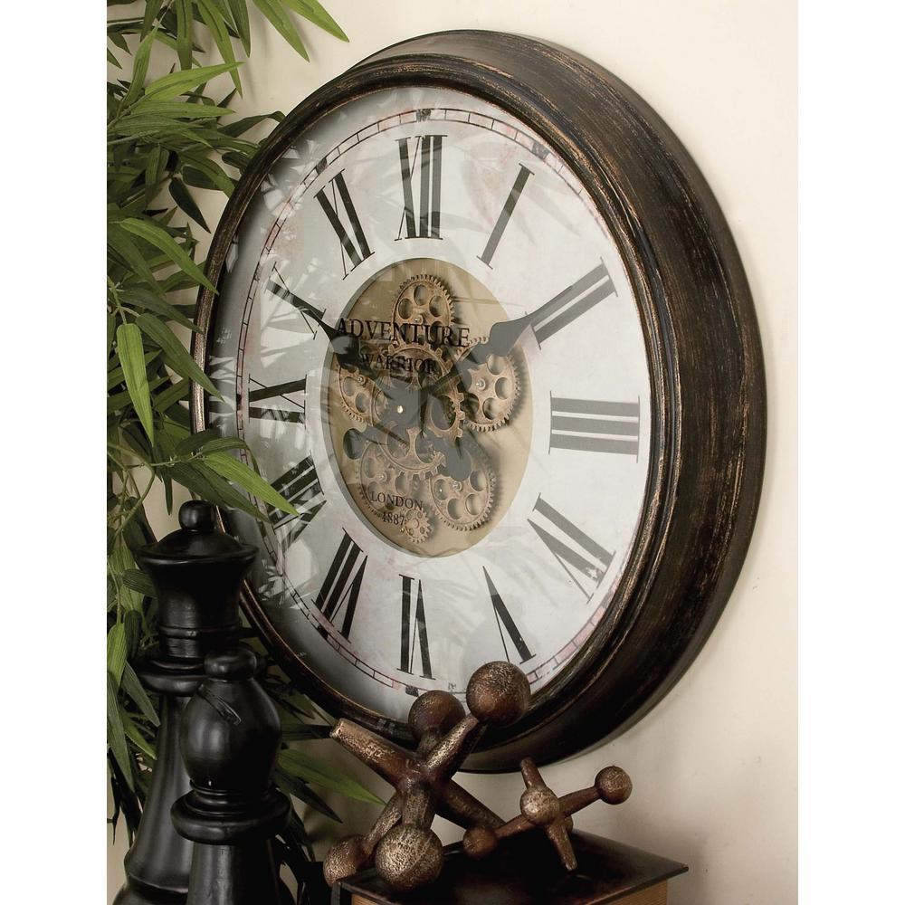 24 In. Vintage U0026quot;Adventure Warrioru0026quot; Gear Wall Clock
