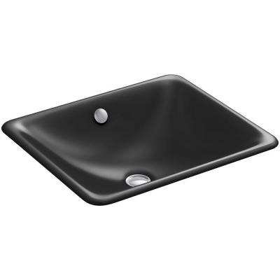 Iron Plains Drop-In/Under-Mounted Cast Iron Bathroom Sink in Black Black with Overflow