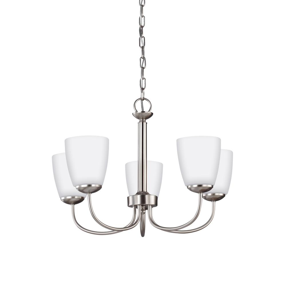 Bannock 5-Light Brushed Nickel Chandelier with LED Bulbs