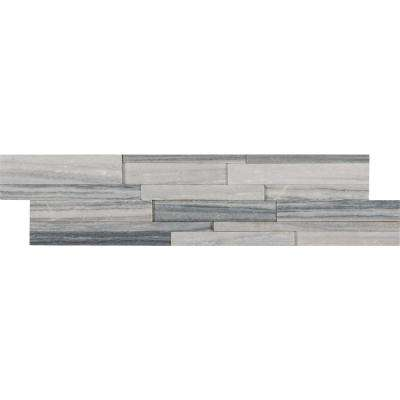 Alaska Gray 3D Ledger Panel 6 in. x 24 in. Honed Marble Wall Tile (10 cases / 60 sq. ft. / pallet)