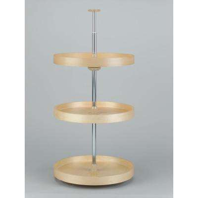 18 in. Banded Wood Full Circle Lazy Susans 3-Shelf