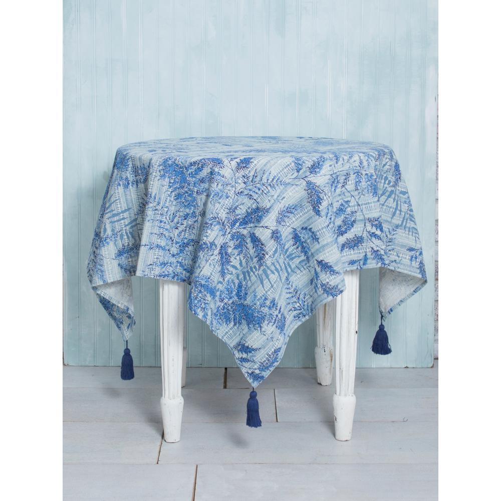 48 in. x 48 in. Fern Blue Tablecloth