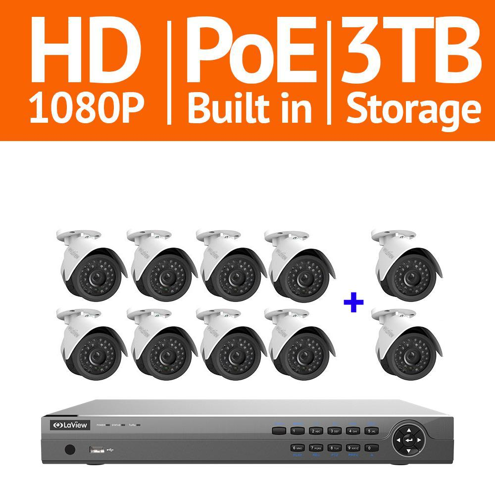 16-Channel 1080P IP Surveillance 3TB NVR Security System 8 + 2
