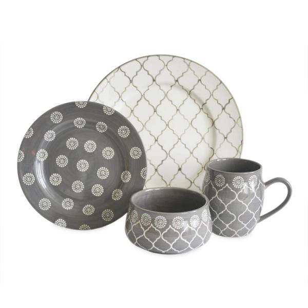 Moroccan 16-Piece Grey Dinnerware Set