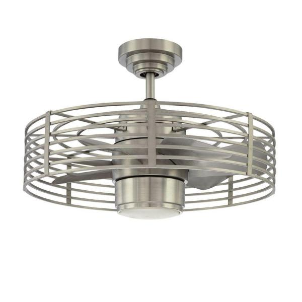 Enclave 23 in. Satin Nickel LED Ceiling Fan with Light and Wall Control