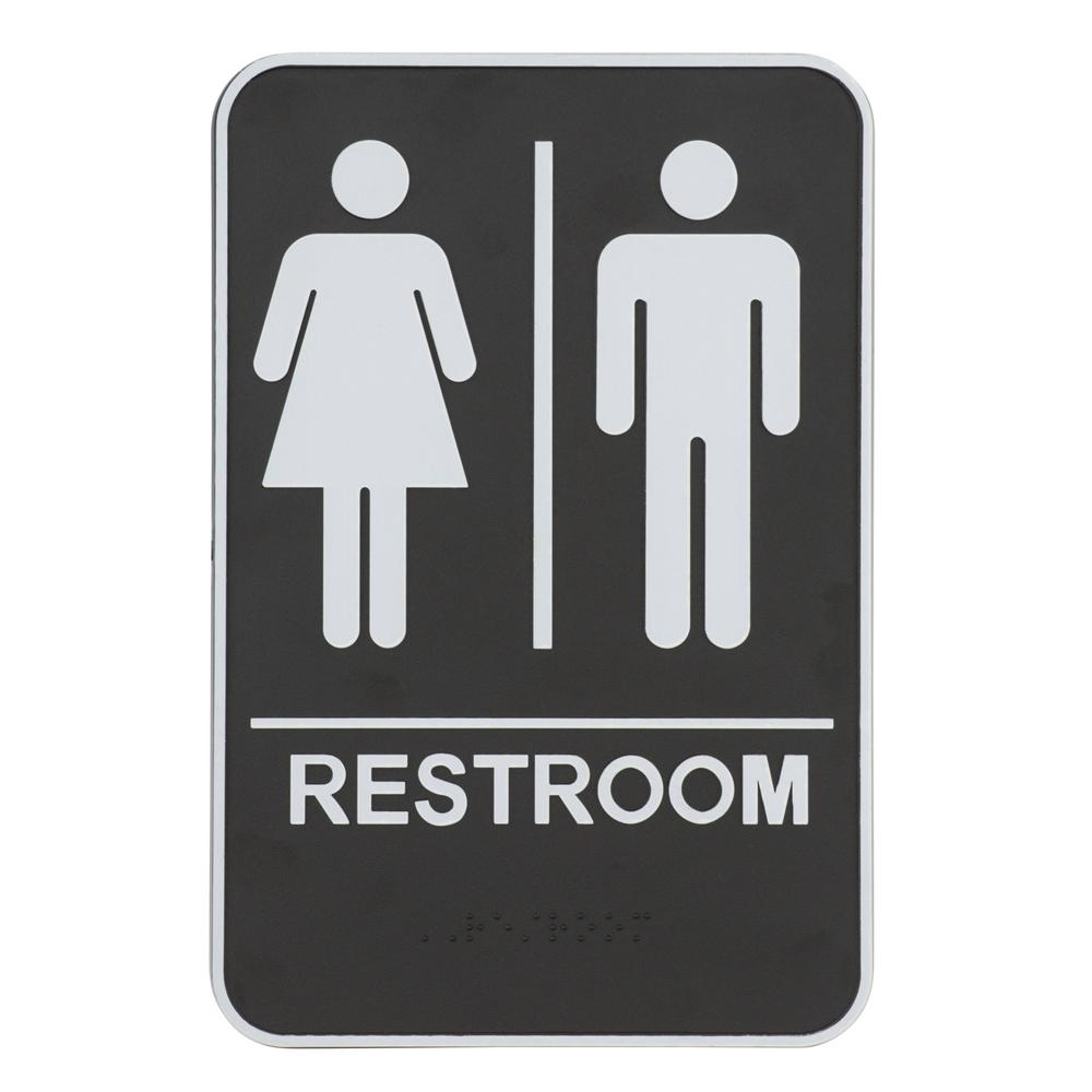 Everbilt 9 in. x 6.5 in. Acrylic Unisex Restroom and Pictogram Braille Sign