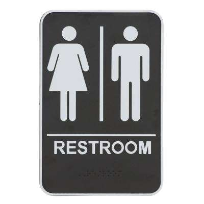 9 in. x 6.5 in. Acrylic Unisex Restroom and Pictogram Braille Sign