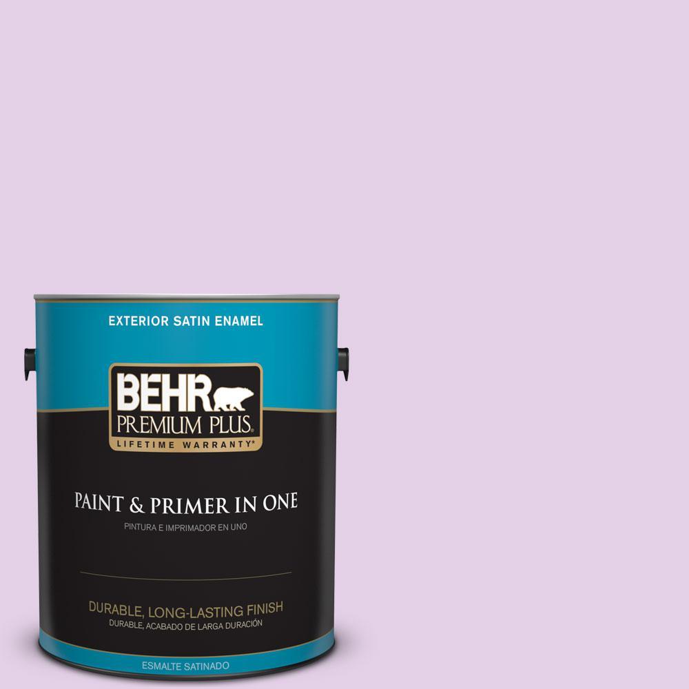 BEHR Premium Plus 1-gal. #P100-2 Sweet Romance Satin Enamel Exterior Paint