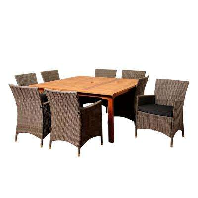 Normand 9-Piece Wood Outdoor Dining Set with Grey Cushions