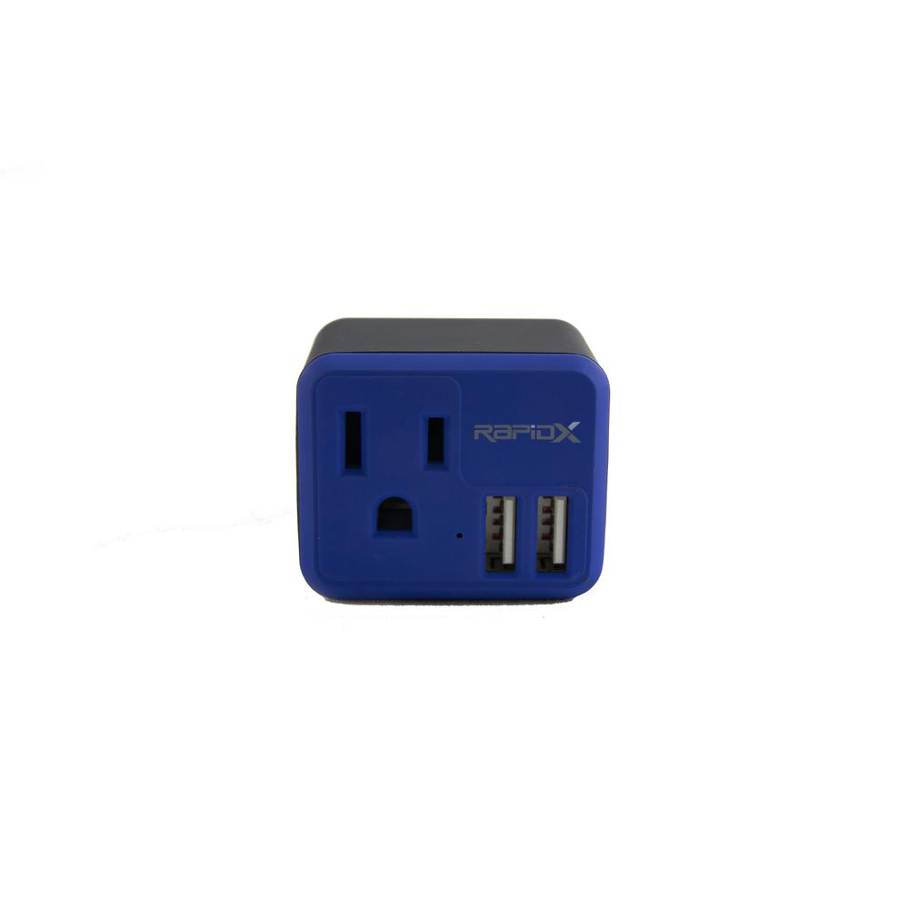 RapidX PowX2 Wall USB Adapter with 1-Outlet and 2 USB Chargers in Blue