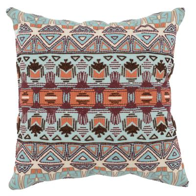 Reece Surf/ Berry 22 in. x 22 in. Linen Embroidery with Beading Decorative Pillow