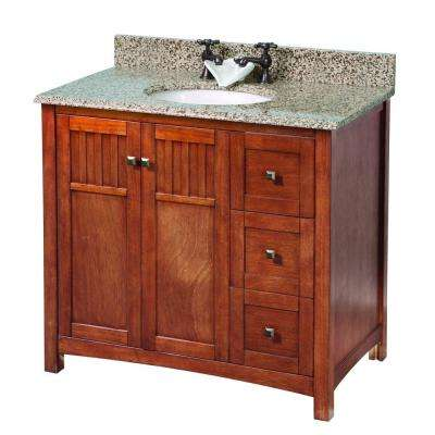 Knoxville 37 in. W x 22 in. D Vanity in Nutmeg with Granite Vanity Top in Montesol with White Sink