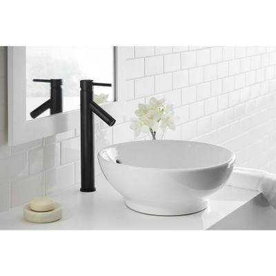 Modern Single Hole Single-Handle Vessel Bathroom Faucet in Matte Black