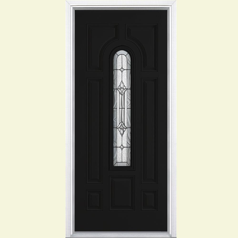Masonite 36 in. x 80 in. Providence Center Arch Jet Black Left Hand Painted Smooth Fiberglass Prehung Front Door w/ Brickmold