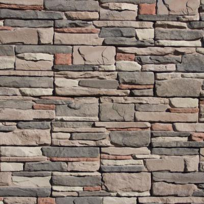 Easy Stack 5 in x 20 in. Elk Creek No Mortar Concrete Ledge Stone Flat Panel 100 sq. ft. Crated
