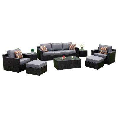 Martin 8-Piece Aluminum and Wicker Patio Seating Set with Gray Cushions