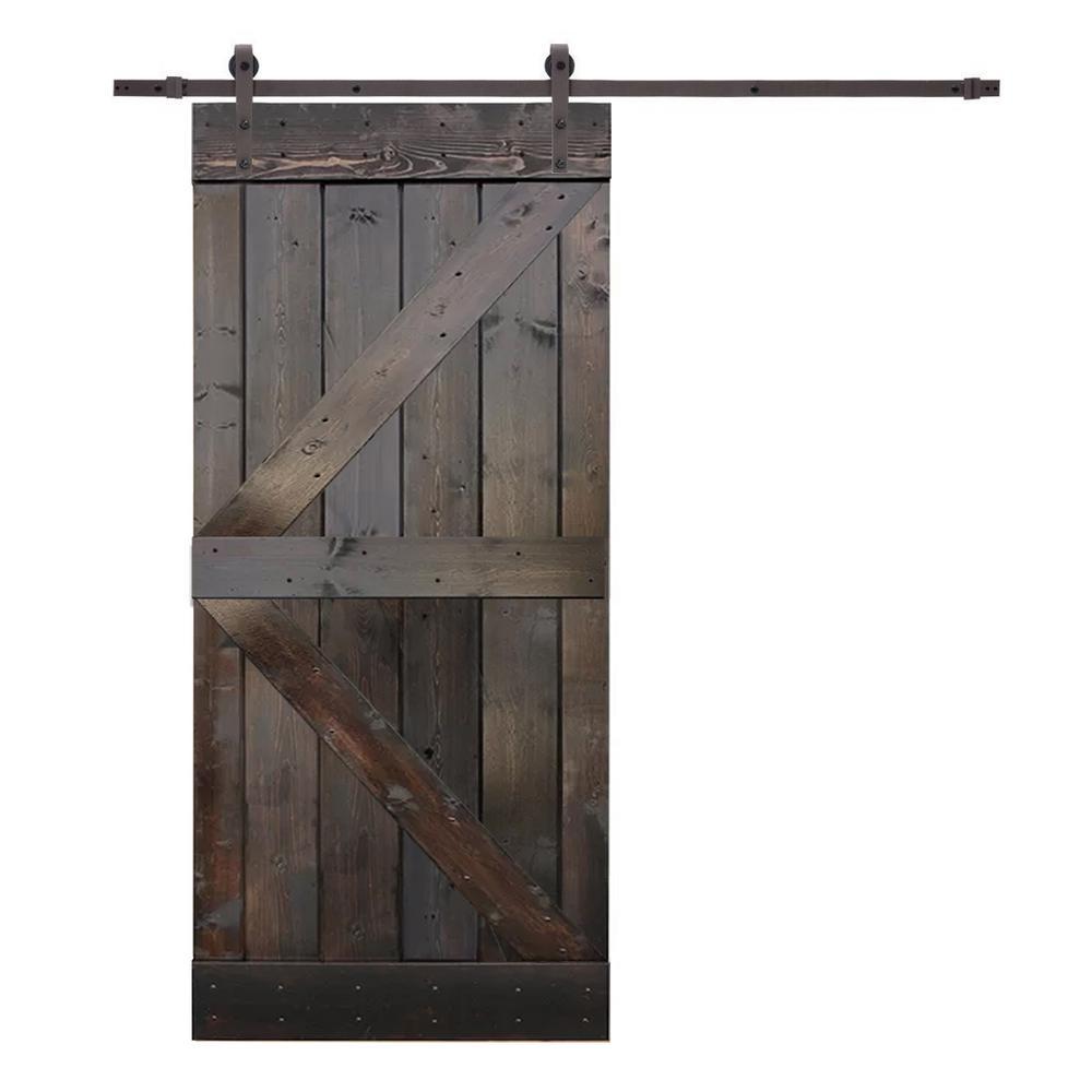 36 in. x 84 in. K-Style Knotty Pine Wood Barn Door with Sliding Door Hardware Kit