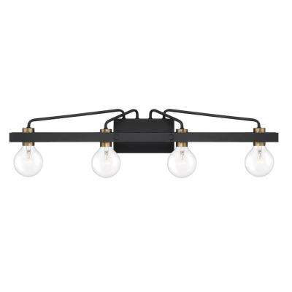 Ravella 4-Light Black Interior Bath Bar Light