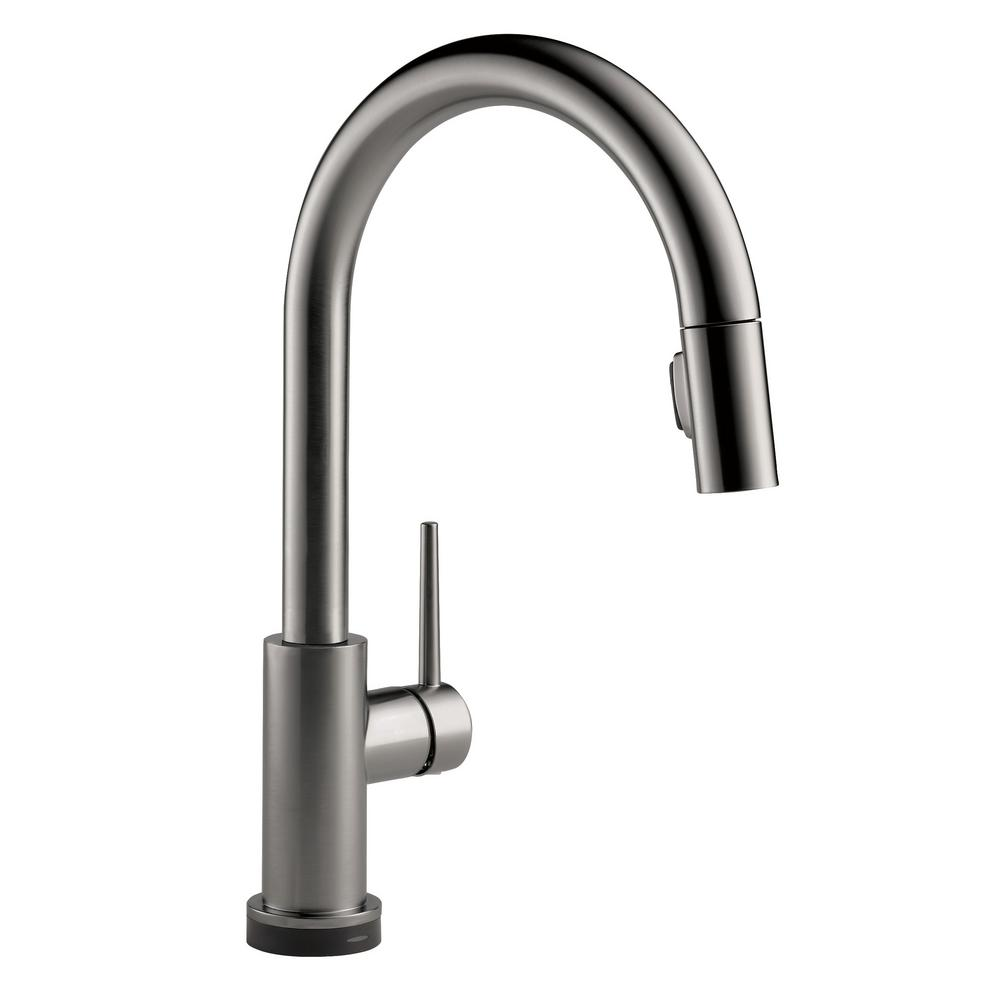 Delta Trinsic Touch2O Single-Handle Pull-Down Sprayer Kitchen Faucet  (Google Assistant, Alexa Compatible) in Black Stainless