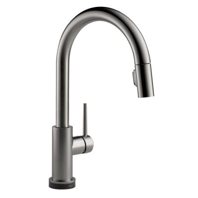 Trinsic Touch2O Single-Handle Pull-Down Sprayer Kitchen Faucet (Google Assistant, Alexa Compatible) in Black Stainless
