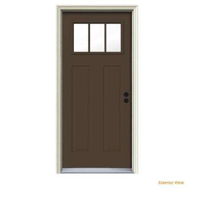 32 in. x 80 in. 3 Lite Craftsman Dark Chocolate Painted Steel Prehung Left-Hand Inswing Front Door w/Brickmould