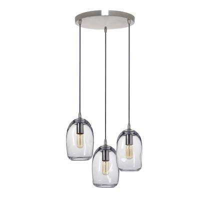 6 in. W x 9 in. H 3-Light Silver Organic Contemporary Hand Blown Glass Chandelier with Clear Glass Shades