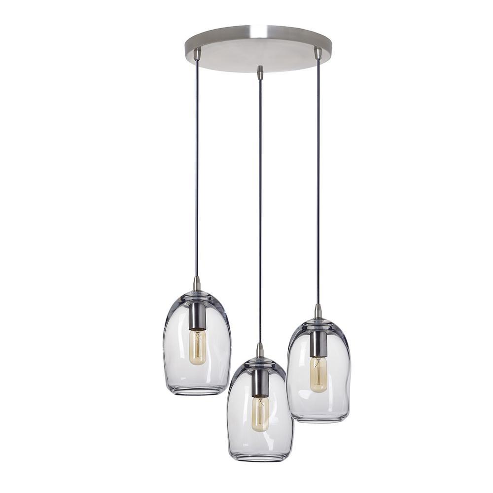 Nickel Finish 3-Light Pendant Opal Glass Shades Hanging Kitchen Island Light