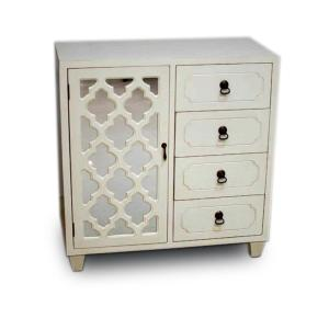 Shelly Assembled 29.5 in. x 29.5 in. x 14 in. Antique White Wood Glass Storage Cabinet with a Door and 4 Drawers
