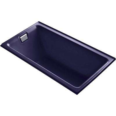 Tea-for-Two 66 in. Left-Hand Drain Rectangular Alcove Bathtub in Indigo Blue