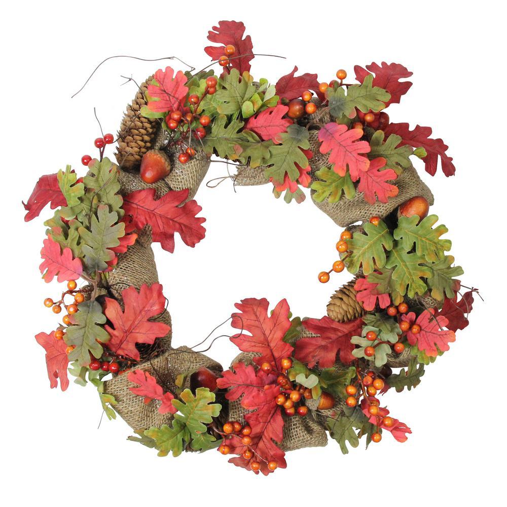 18 in. Unlit Autumn Harvest Acorn Berry and Burlap Rustic Thanksgiving Wreath