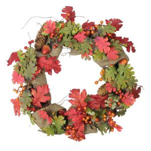18 in. Unlit Autumn Harvest Acorn Berry and Burlap Rustic Thanksgiving Wreath