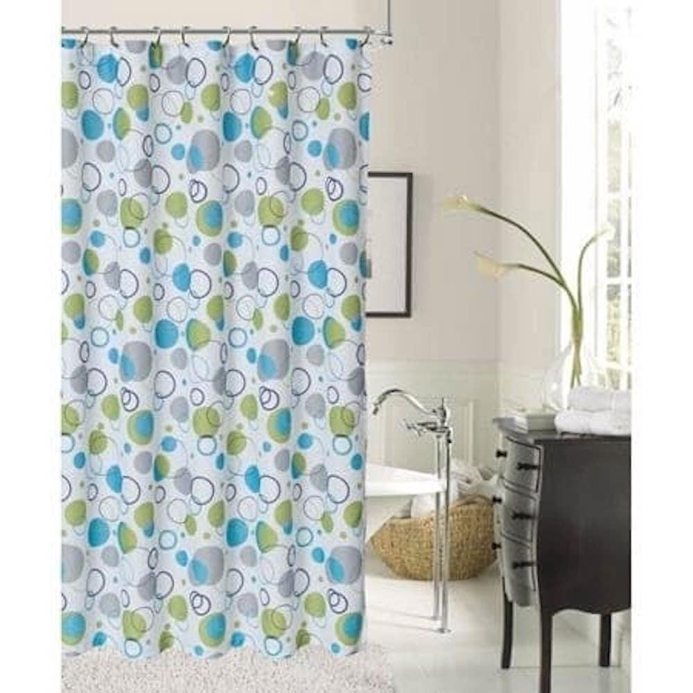 Dainty Home Bubbles 72 In Blue Printed Shower Curtain Bubscbl The