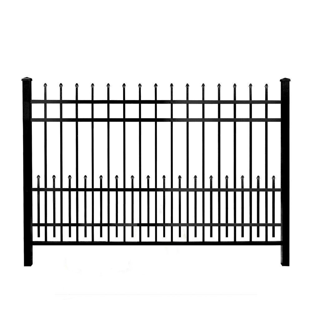 Mainstreet Aluminum Fence 3/4 in  x 1 5 ft  x 6 ft  Black Aluminum Fence  Puppy Guard Add-On Panel