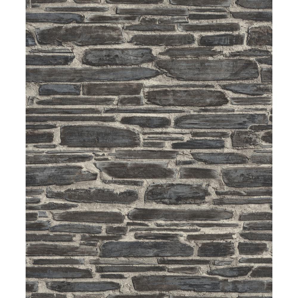 56.4 sq. ft. Cassandre Black Stone Wallpaper