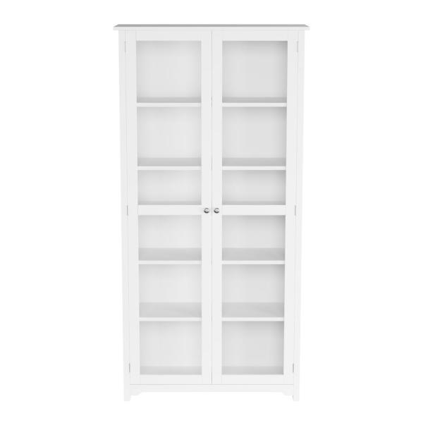 Home Decorators Collection Oxford White Glass Door Bookcase