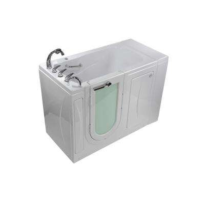 Malibu 52 in. Walk-In MicroBubble Air Bath in White with LH Outward Swing Door, Heated Seat, Faucet, LH 2 in. Dual Drain