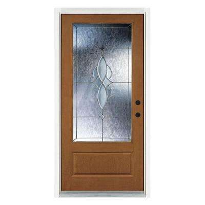36 in. x 80 in. Scotia Medium Oak Left-Hand Inswing 3/4 Lite Decorative Fiberglass Prehung Front Door