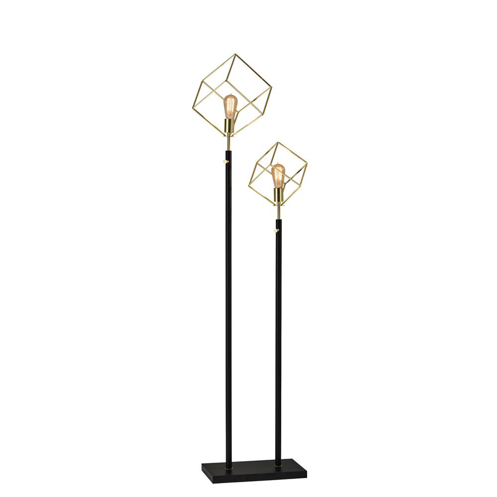 Otto 69 in. Matte Black/Gold Floor Lamp