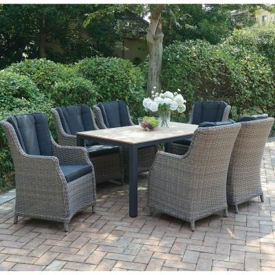 Nebbluno 7-Piece All-Weather Wicker Rectangular Outdoor Dining Set with Brown Cushion